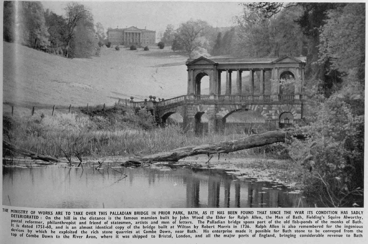 Palladian Bridge, Prior Park - The Sphere - Saturday 5 August 1950