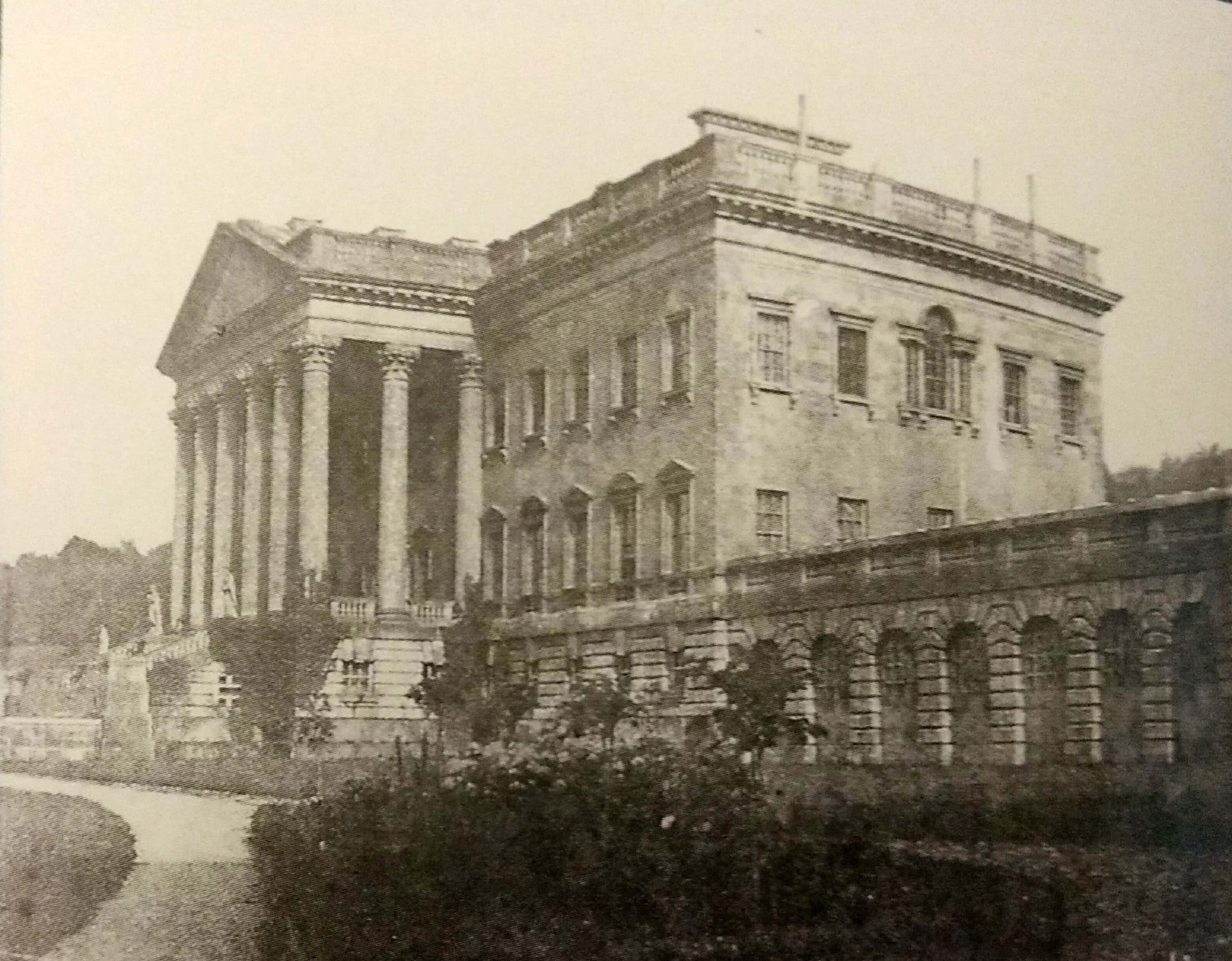 Prior Park mansion and portico in about 1855, Rev Francis Lockey (1796 - 1869)
