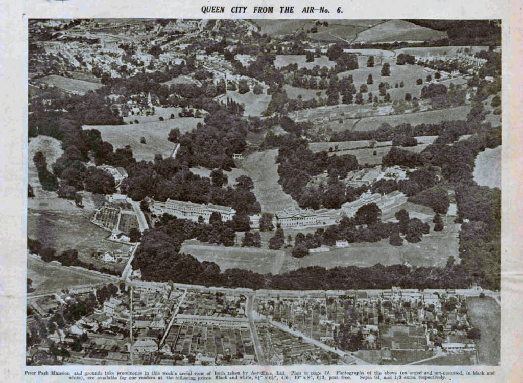 Prior Park mansion from the air - Bath Chronicle and Weekly Gazette - Saturday 23 November 1935