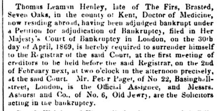 Thomas Leaman Henley, The London Gazette, Part 1, January 1870
