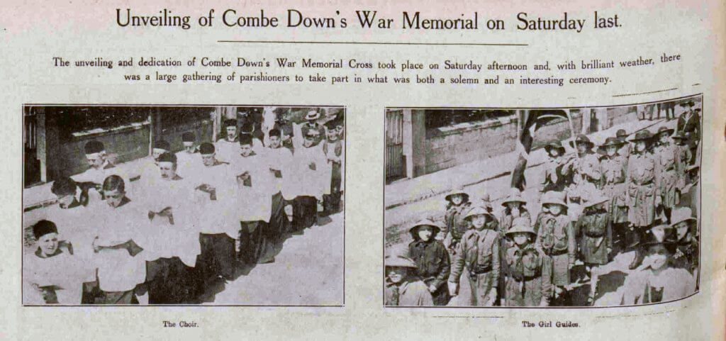 Unveiling and dedication of Combe Down war memorial