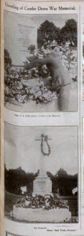 Unveiling of Combe Down war memorial - Bath Chronicle and Weekly Gazette - Saturday 28 May 1921
