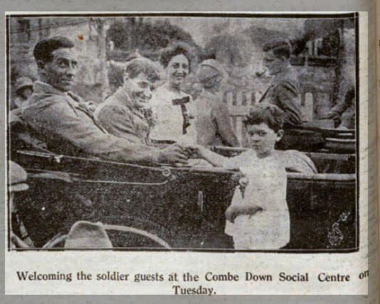 Welcoming soldier guests at Combe Down - Bath Chronicle and Weekly Gazette - Saturday 16 July 1927