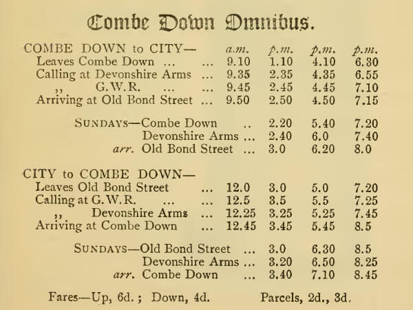 Combe Down omnibus timetable from The Bijou Guide to Bath, 1890