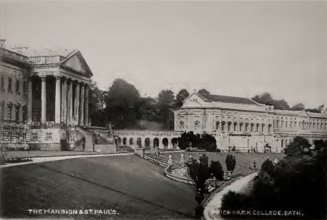 Prior Park mansion portico and St Pauls about 1900