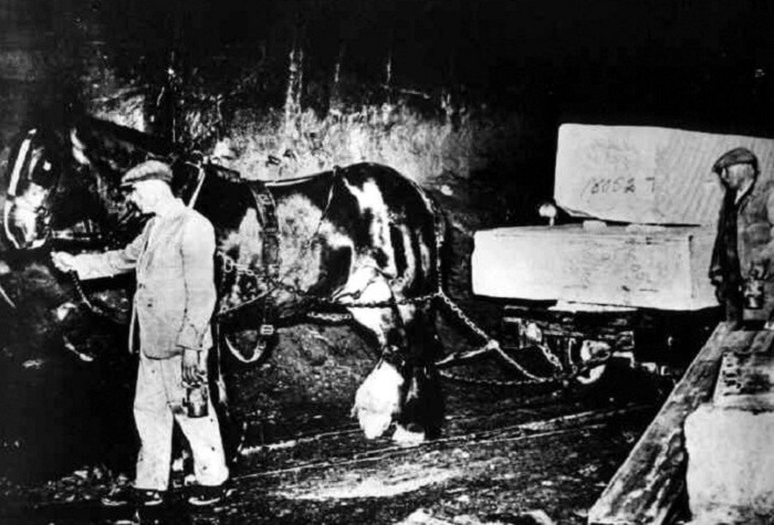 Hauliers and horse drawing a load of block from the heading to the bottom of the shaft