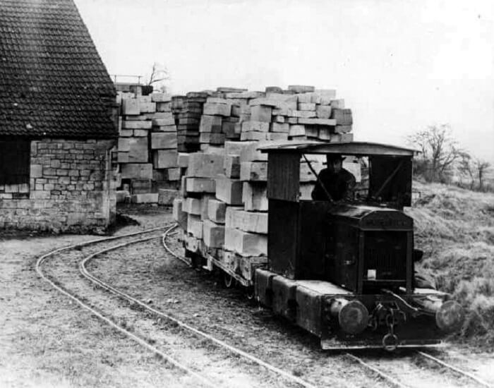 Hauling block from the mine stacking ground to the main railway line - Monks Park 1934