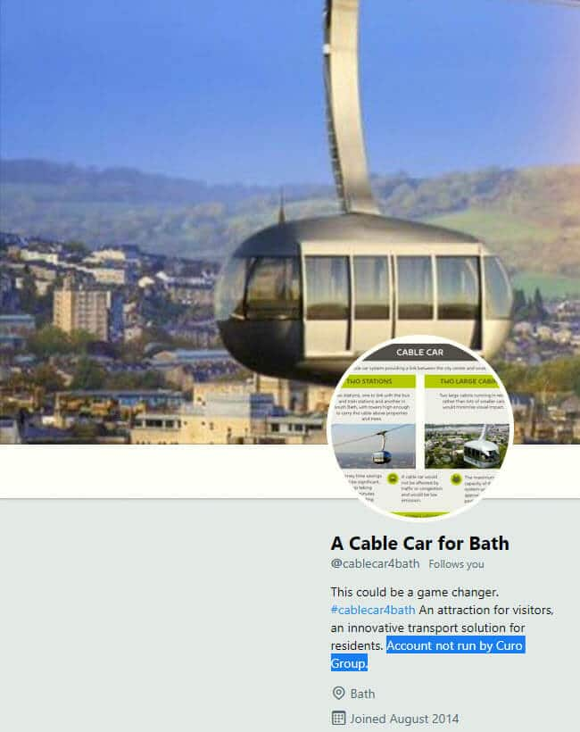 A cable car for Bath Twitter account