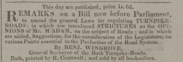 Advert for Benjamin Wingroves pamphlet - Bath Chronicle and Weekly Gazette - Thursday 17 May 1821