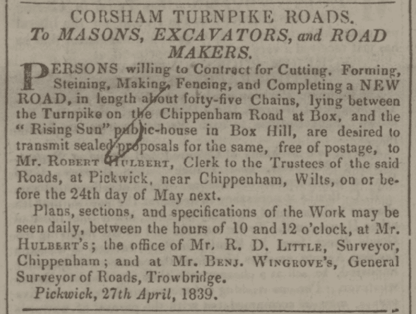 Benjamin Wingrove Corsham turnpikes notice - Bath Chronicle and Weekly Gazette - Thursday 23 May 1839