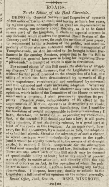 Benjamin Wingrove letter on roads - Bath Chronicle and Weekly Gazette - Thursday 21 December 1820