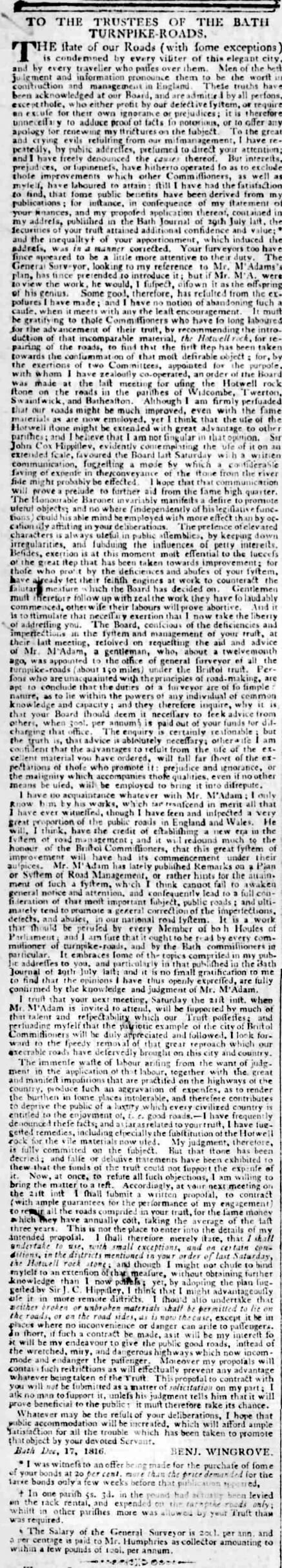 Benjamin Wingrove letter to turnpike trustees - Bath Chronicle and Weekly Gazette - Thursday 19 December 1816