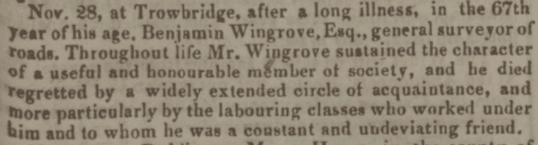 Benjamin Wingrove obituary - Bath Chronicle and Weekly Gazette - Thursday 10 December 1840