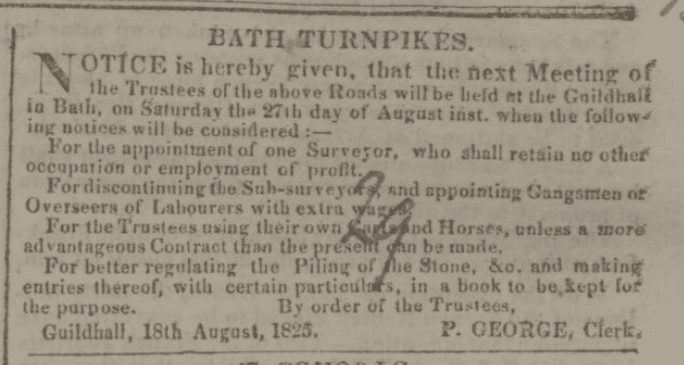 Change to surveyor's terms proposed - Bath Chronicle and Weekly Gazette - Thursday 25 August 1825