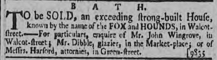 John Wingrove, Fox and Hounds - Bath Chronicle and Weekly Gazette - Thursday 6 December 1787