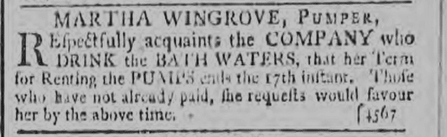 Martha Wingrove, Pumper - Bath Chronicle and Weekly Gazette - Thursday 9 July 1795