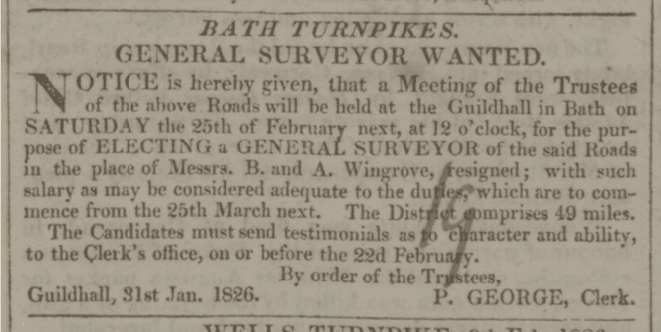 New surveyor advert - Bath Chronicle and Weekly Gazette - Thursday 16 February 1826