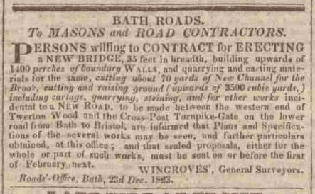 Wingrove bridge notice - Bath Chronicle and Weekly Gazette - Thursday 25 December 1823