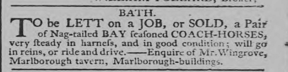 Wingrove, Marlborough Tavern coach horses - Bath Chronicle and Weekly Gazette - Thursday 2 May 1793