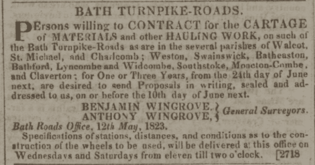 Wingrove roads notice - Bath Chronicle and Weekly Gazette - Thursday 15 May 1823