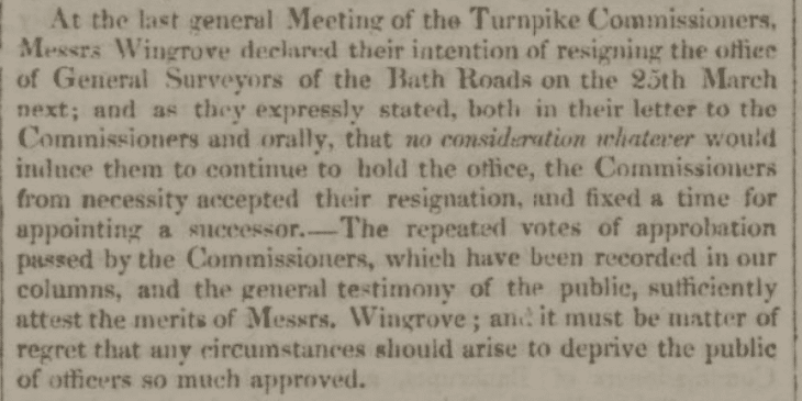 Wingroves resign - Bath Chronicle and Weekly Gazette - Thursday 2 February 1826