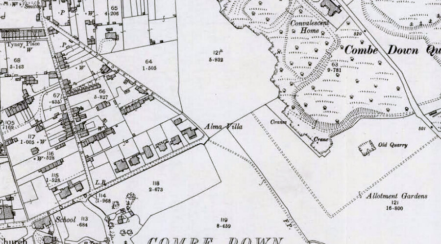 Detail from OS map, Combe Down revised 1902 published 1904, showing Upper Lawn Quarry allotments