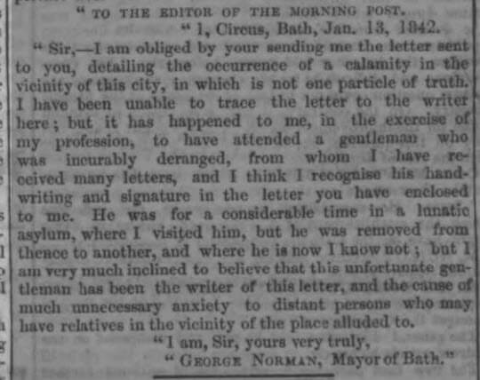 Accident reply - London Evening Standard - Friday 14 January 1842