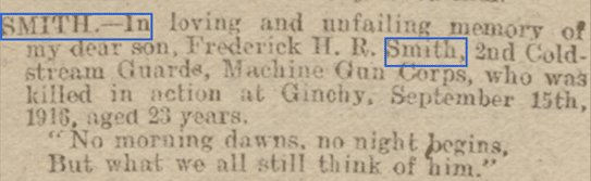 Frederick H R Smith, Bath Chronicle Sep 20  1919, Memoriam Section