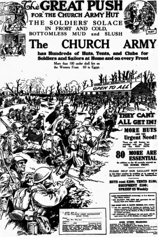 Church Army hut advert 1917