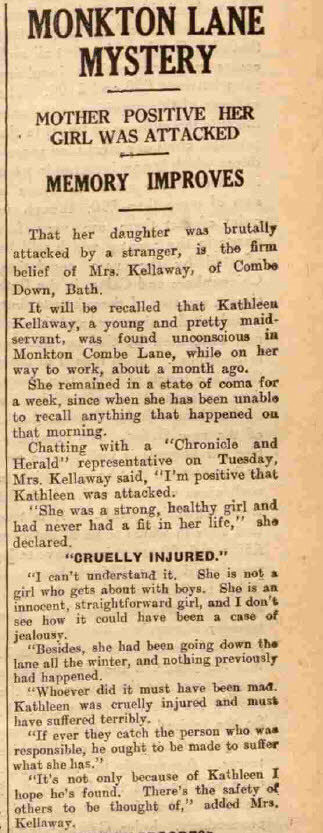 Kathleen Kellaway report - Bath Chronicle and Herald, Saturday 20 Aug 1932