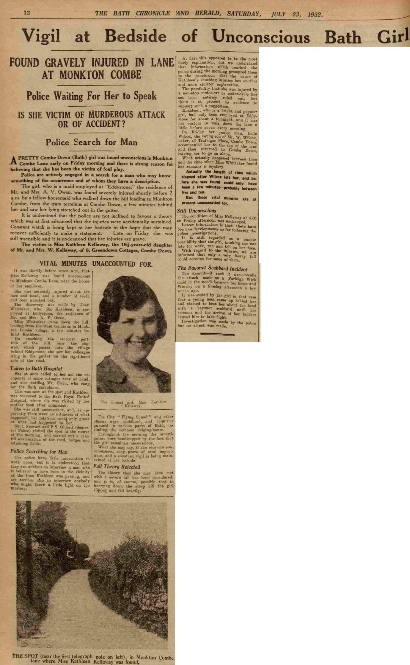 Kathleen Kellaway report - Bath Chronicle and Herald, Saturday 23 July 1932