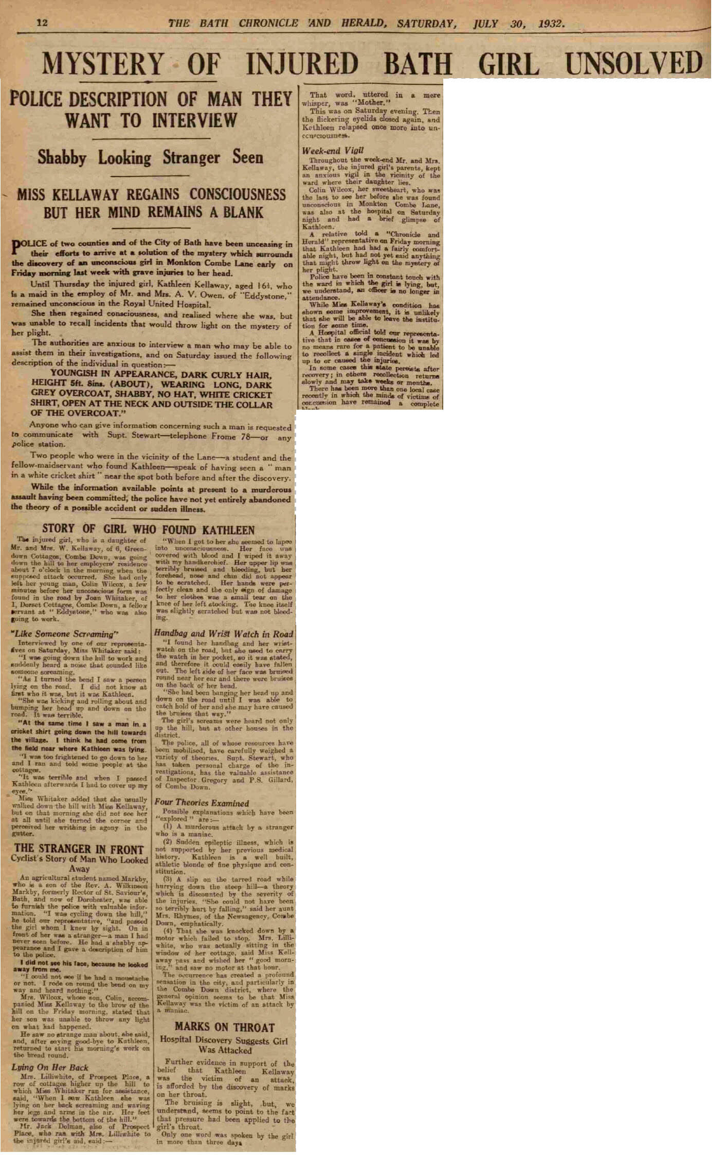 Kathleen Kellaway report - Bath Chronicle and Herald, Saturday 30 July 1932