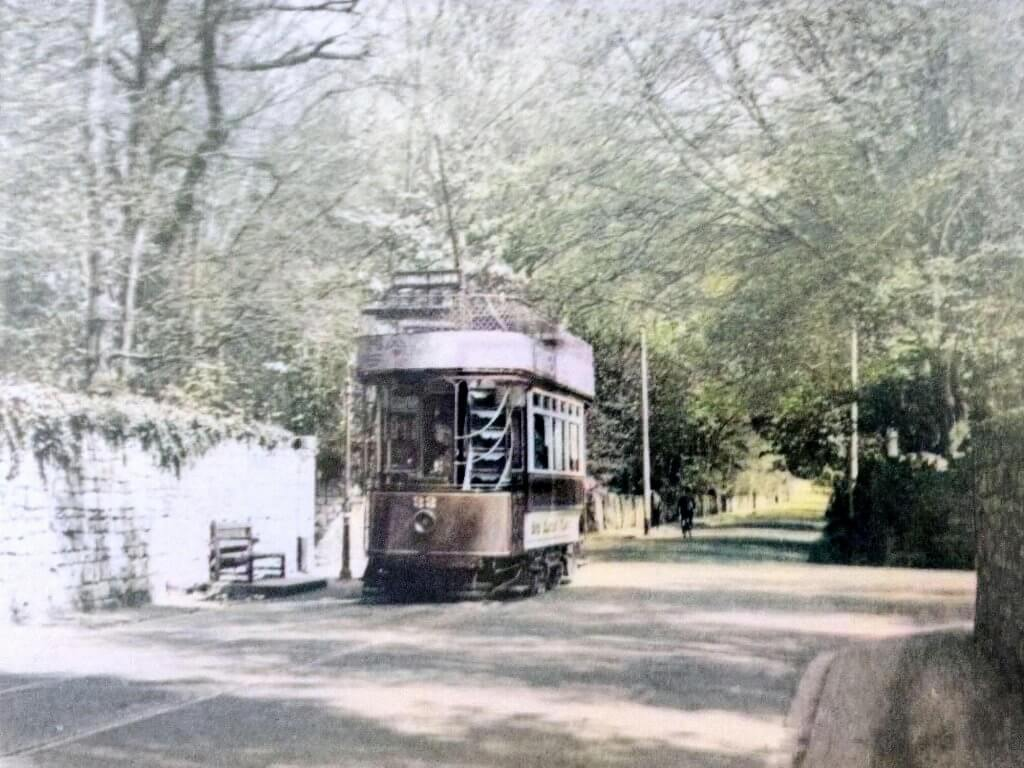 Tram on North Road by Shaft Road in Combe Down