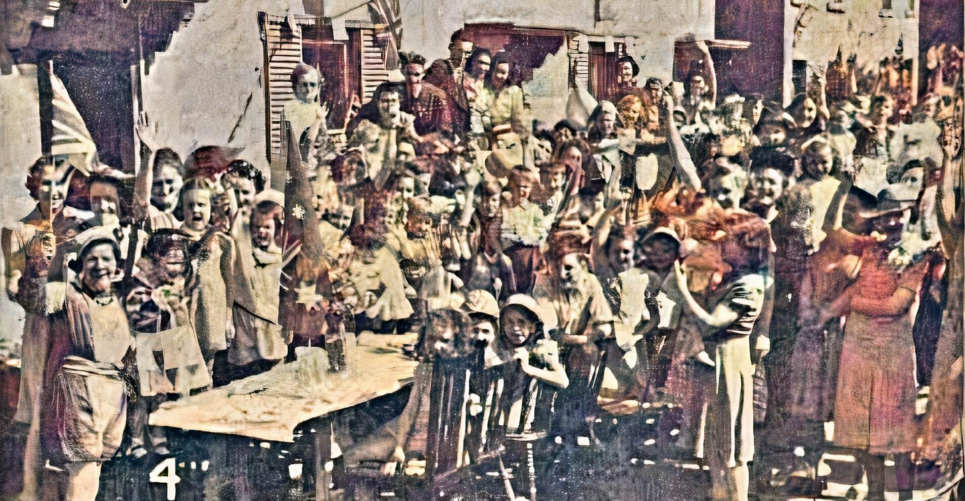 VE Day celebration, Tyning Road, Combe Down, 1945