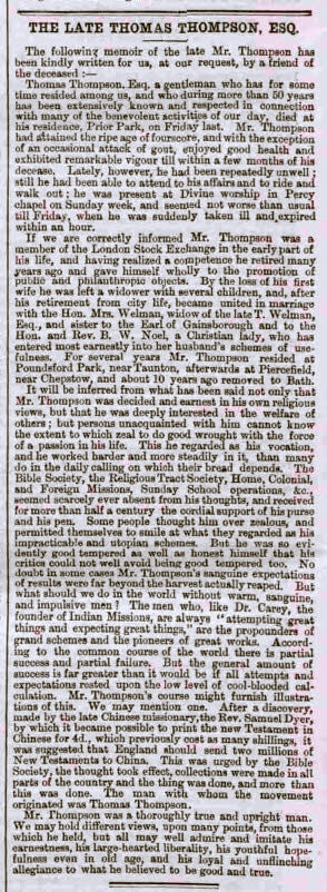 The late Thomas Thompson Esq - Bath Chronicle and Weekly Gazette - Thursday 14 December 1865