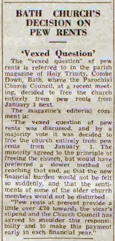 Pew rents, Bath Chronicle and Weekly Gazette - Saturday 10 December 1949