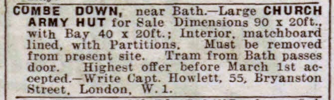 Church Army hut for sale, Combe Down - Bath Chronicle and Weekly Gazette - Saturday 2 February 1929