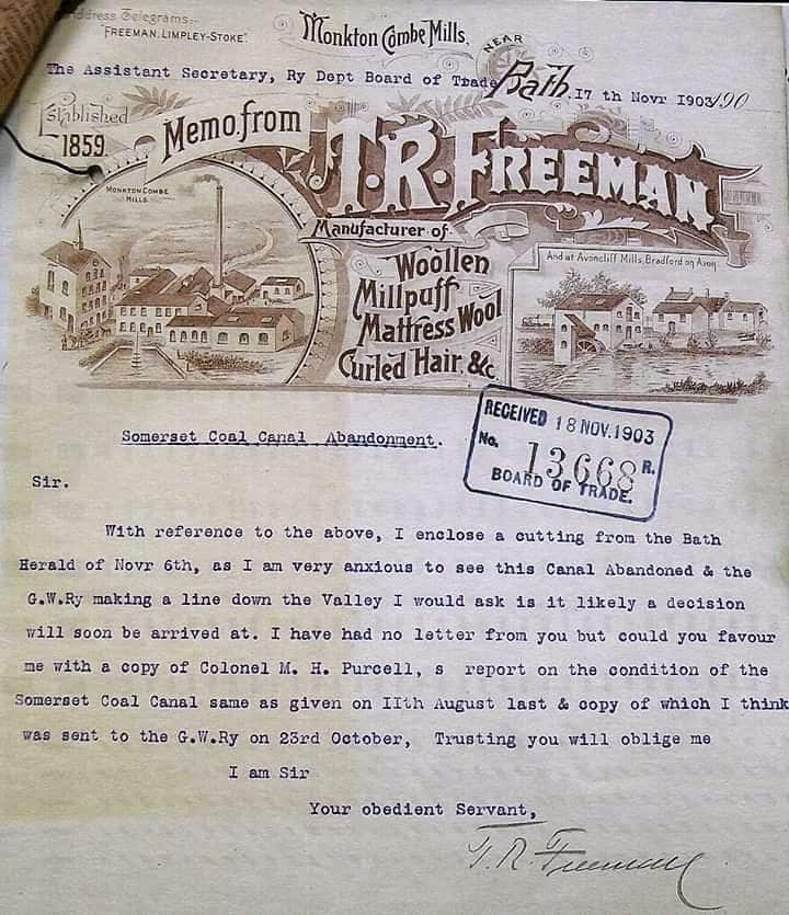 Freeman letter to Board of Trade, 1903