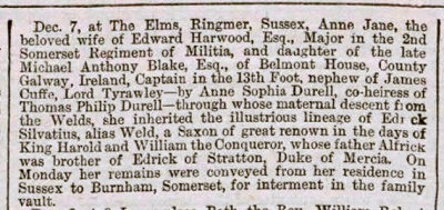 Anne Jane Blake, Bath Chronicle and Weekly Gazette - Thursday 17 December 1868