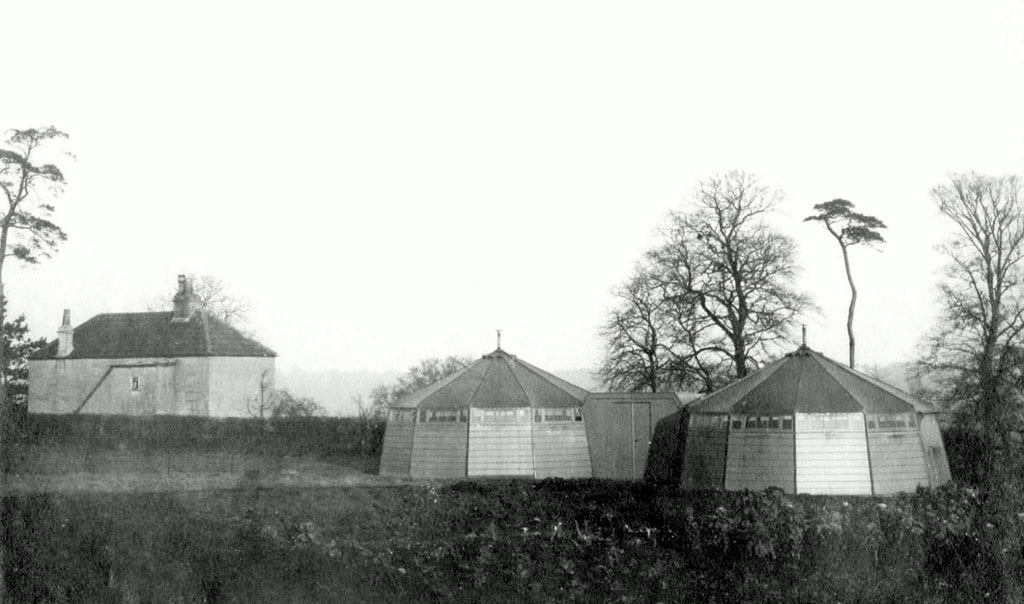 Isolation hospital wooden tents made by the Berthon Boat Company