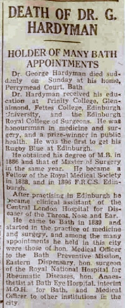 Dr George Hardyman, Bath Chronicle and Weekly Gazette - Saturday 15 January 1944