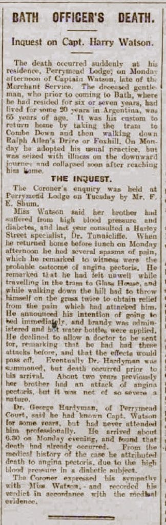 Harry Watson, Bath Chronicle and Weekly Gazette - Saturday 5 June 1926