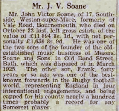 John Victor Soane, Bath Chronicle and Weekly Gazette - Saturday 8 February 1941