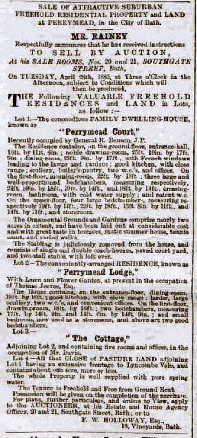 Perrymead Court and Lodge etc, Bath Chronicle and Weekly Gazette - Thursday 9 April 1885