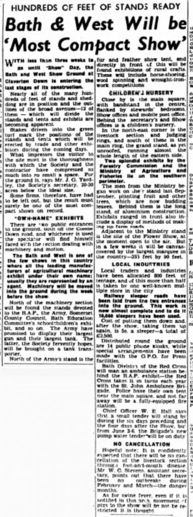 Bath and West show, Somerset Guardian and Radstock Observer - Fri 15 May 1953